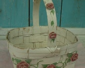 Vintage White Wicker Romantic Chippy Basket with Roses