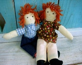 Vintage - Raggedy Ann and Andy Dolls - Cute - Couple - Old - Cloth Doll