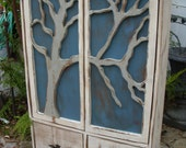 Artistic Furniture - Storage Shelves, Cabin Decor - French Country Chic - Tree Art - Rustic Home Decor