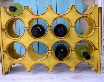 Wood Wine Rack - Holds 12 Bottles - Handcrafted - Wooden Wine Rack Storage - Wet Bar - Wine Bar - Home Decor - Rustic Wine Rack - Dining