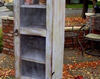 "Wooden Furniture - Pie Safe - Cabinet - Storage Shelf - Handmade - Pantry - Kitchen - Bathroom - Laundry Room - 60"" Tall x 16 Wide x 16 Deep"
