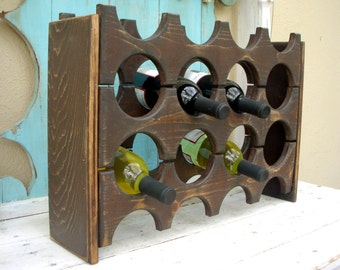 Wooden Wine Rack - Handcrafted - Holds 12 Bottles - Kitchen Storage - Wet Bar - Wine Bar - Home Decor - Rustic Chic - Shabby Cottage