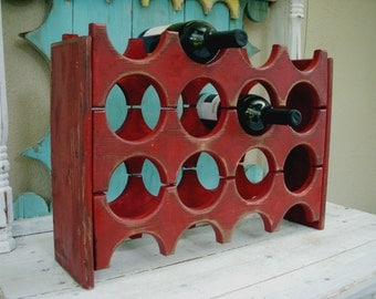 Wood Wine Rack - Rustic, Shabby Decor - Handmade - Wet Bar - Kitchen Storage - Wedding Gift Ideas - Wine Bar Storage - Dining Room