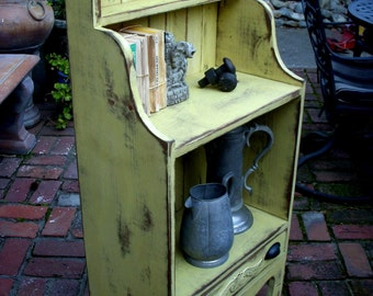 "Library - Wooden Furniture - Wooden Shelf - Wood Bookcase - Farmhouse Chic - Shabby Cottage - Cabinet - 47"" Tall x 20.5"" Wide x 11.5"" Deep"