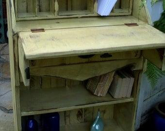 Handmade Furniture - Desk - Bookcase - Antiqued - Distressed - Shabby Home Decor - Etagere Desk