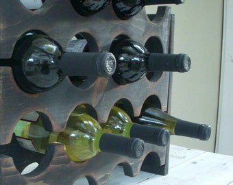 Wooden Wine Rack - Wedding Gift Ideas - Rustic Home Decor - Country Cottage - Wet Bar - Wine Bar - Honeystreasures - Wood - Holds 12 Bottles