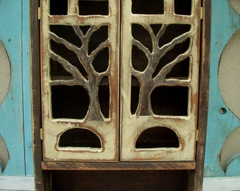 Wood Cabinet - Cottage Chic - Tree Art - 20 x 12 x 5.5 - Artistic Shelf - Home Decor - Shabby - Rustic - Woodland