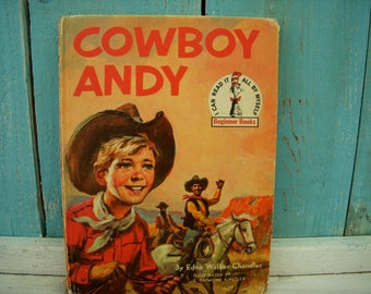 Vintage Book - Cowboy Andy - Cowboy - Andy - Children's Book - Reading - Bedtime Story - Random House Beginner Books - Easy Reading