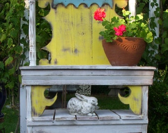 LOCAL ONLY - Potting Table - Hutch - Kitchen - Garden - Handmade Shabby Cottage, Paris Apartment, French Country, Distressed Furniture