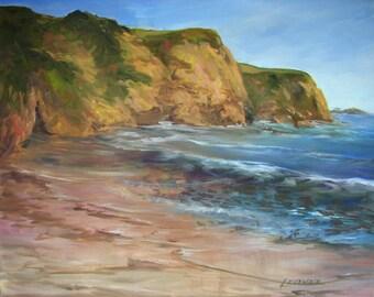 Original Oil Painting - 24 x 20 - Vintage - Coastal Landscape - Beach Decor - Vintage - Seascape - Signed - Wall Art - Hanging - Decorative
