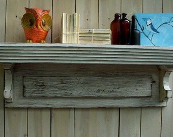 Rustic Wood Shelf - Original - Home Decor - Entryway - Floating - Wall Mounted Shelf - Shabby - Cottage Chic - Furniture - 44 Inches