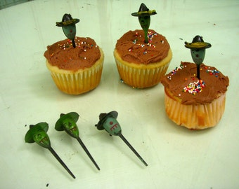 Vintage Witches - Cupcake Picks - Decorative - Halloween - Holiday Party - Set of 12 - Children - Adult - Fun - Witch - Antique
