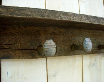 Rustic Wall Decor - Shelf - 30 Inches - 4 or 5 Railroad Spike Hooks - Handcrafted You Choose Color
