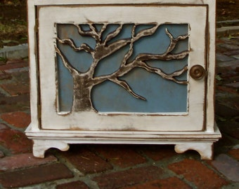 Wood Table - Artistic Furniture - Oak Tree, Lighthouse, Rustic Elegance, Beach Cottage - Bedroom Furniture - Storage