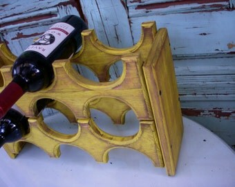 Handmade Wooden Wine Rack - Holds 6 Bottles - Handcrafted - Wood - Kitchen Storage - Dining - Wine Bar - Gift Ideas - Wedding - Rustic Home