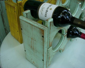 Wood Wine Rack - Wooden - Kitchen - Wet Bar - Stores 6 Bottles - Handcrafted - Solid Wood - Wine Holder - Wine Storage - Honeystreasures