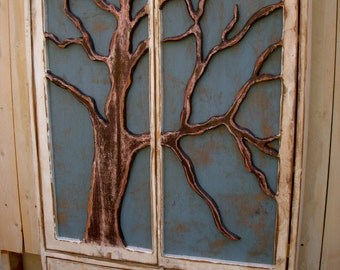 LOCAL ONLY - Furniture Shelf - Oak Tree Cabinet - Artistic - Storage Shelves, Shabby Furniture, Chic Cottage -French Country