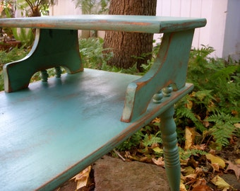 READY to SHIP - Mid Century Table - Turquoise - Upcycled Furniture - Honey's Treasures - Recycled - Ecofriendly - 60's Side Accent Table