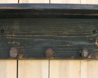 "Entry Storage - Mud Room - Railroad Spike Coat Rack - Spike - Entryway Hooks - Shelving -  Handmade - Shabby Cottage - 15"" Long - 3 Spikes"