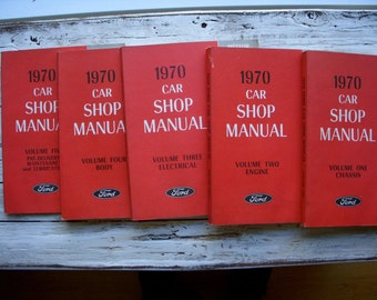 Vintage - 1970 - Ford - Car - 5 Volume - Set - Car Shop - Manual - Automotive Repair- Restoration - DIY - Do It Yourself - Instructional