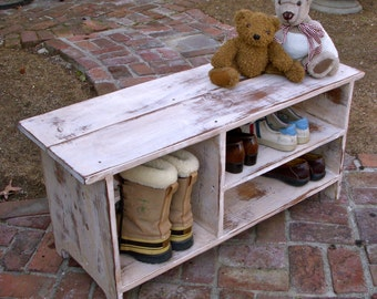 Shoe Cubby Bench / Storage Bench / Entryway Organizer / Wooden / Wood / Cubby  Bench