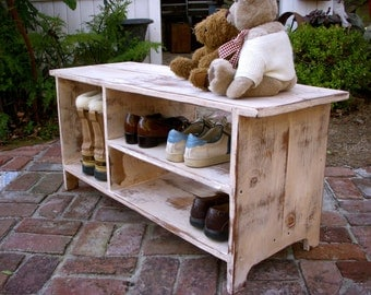 Wood Storage Bench - Furniture - Entryway - Hall - Shoe Storage - Your color choice - Solid Wood - 36.5 Long