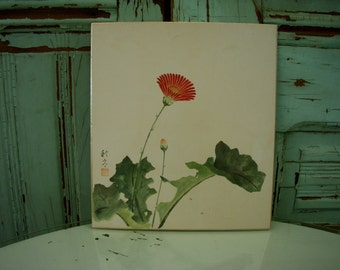 Vintage Painting, Japanese Art, Handmade - Red Flower - Watercolor - Original Art - Wall Hanging - Oriental - Asian Decor