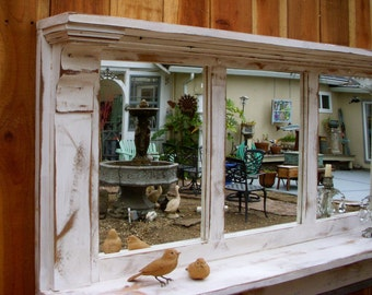 Entry Shelf - Shelve Mirrors - Wood - Mirror - Shelf - Shabby - Cottage - Chic - Farmhouse Style - Furniture - Mirrored Shelf - Entryway