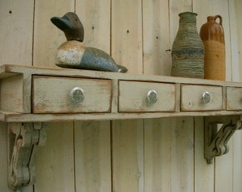 Floating Desk - Entry Wall Shelf - Shabby - Cottage Chic - French Country - Custom Furniture - Drawers - 44.5 long x 14 high x 9.25 deep