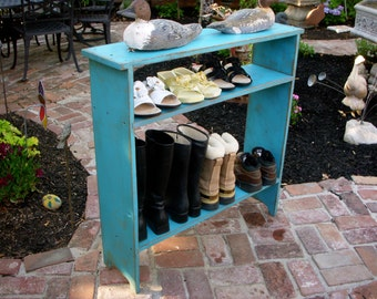 Wood Shoe Storage - Entry Hall - Mud Room - Shabby - Cottage Chic - French Country - Wooden Distressed Furniture