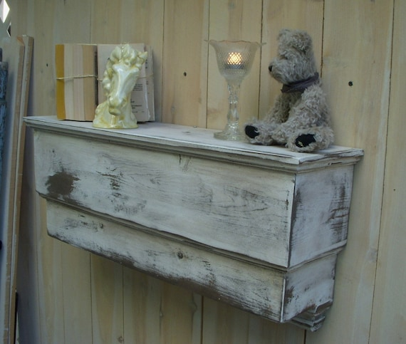 Shabby Shelf - Wooden Shelf 31 Inch - Cottage Chic - Handcrafted - Rustic Home Decor - Distressed Furniture