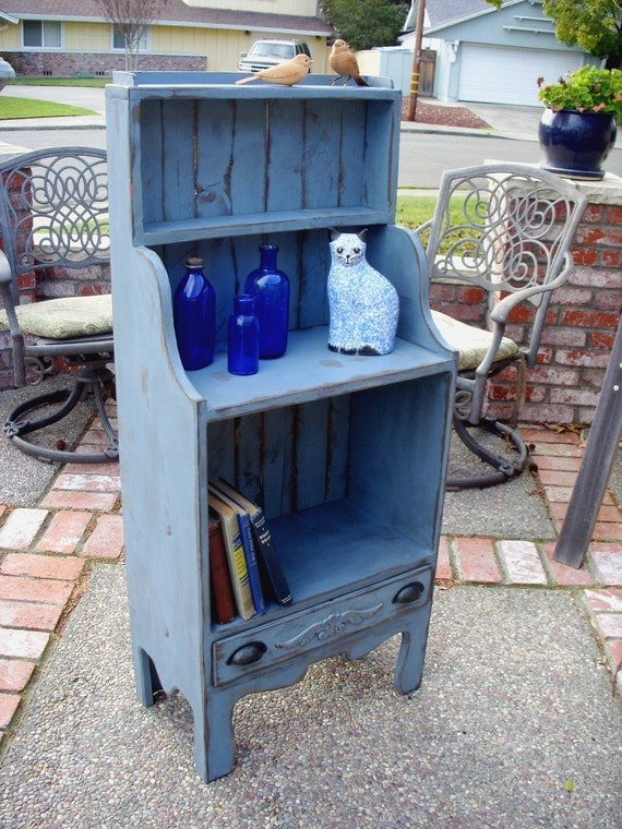 """Wood Shelf Bookcase Furniture Cabinet - Van Gogh - Cabinet - Rustic Home Decor - Entryway Furniture - 47"""" Tall x 20.5"""" Wide x 11.5"""" Deep"""
