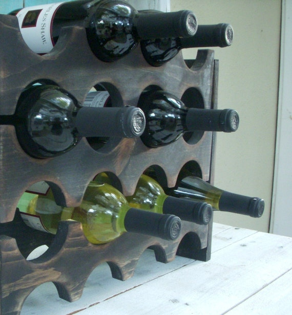 Wooden Wine Rack - Holds 12 Bottles - Rustic Home Decor - Honeystreasures - Rustic Home Decor - Wedding Gift Ideas - Industrial Kitchen