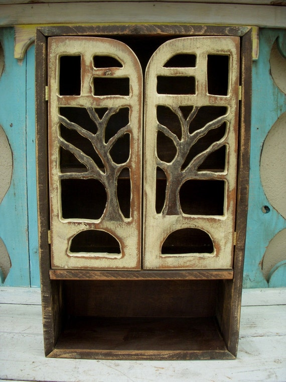 Kitchen Storage - Bath - Wood Cabinet - Cottage Chic - Tree Art - 20 x 12 x 5.5 - Artistic Shelf - Home Decor - Shabby - Rustic - Woodland