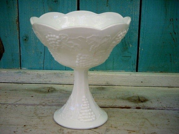 Vintage - Milk Glass - Grape Pattern - Footed Fruit bowl - Mid Century - White - Candy Dish - Kitchen Decor - Collectible - Candies