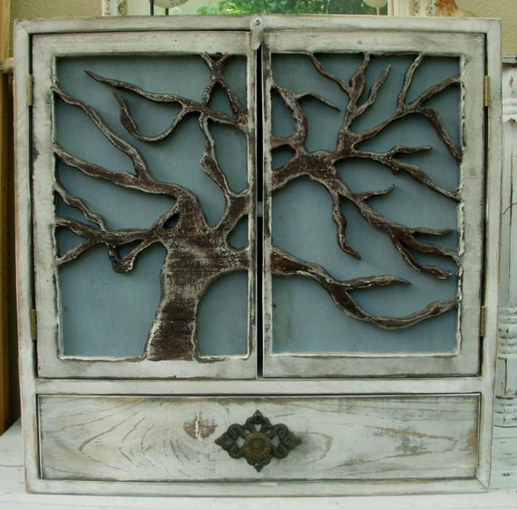Beach Decor - Woodland Cabin Decor - Wooden - Wood Storage - Shelf - Rustic Cabin Decor - Home & Living - Tree Doors - 24 x 24 x 5.5