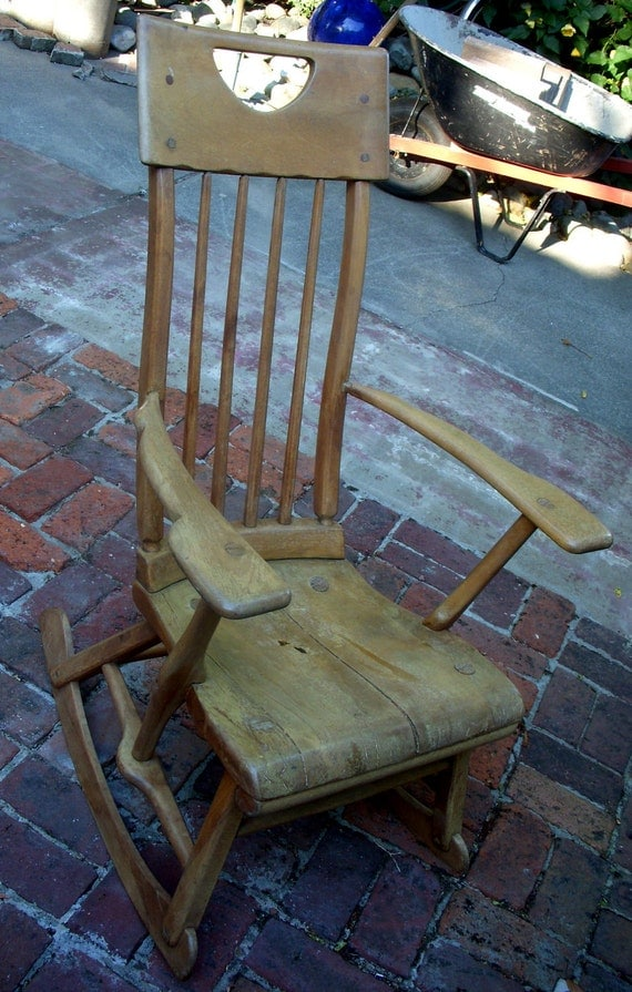 Rustic home decor antique rocking chair wood wooden for Small wooden rocking chair for crafts