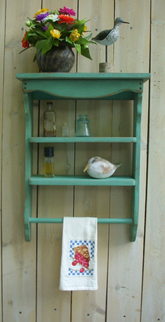 Bath - Bathroom - Kitchen - Spice Rack - Decor - Wood Shelf Towel Holder - Shabby - French Country - Paris Apartment - Beach Cottage Chic