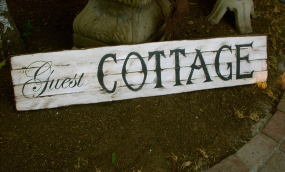 Handmade Wooden Sign - Ecofriendly Recycled Wooden Guest Cottage Sign - Shabby Cottage