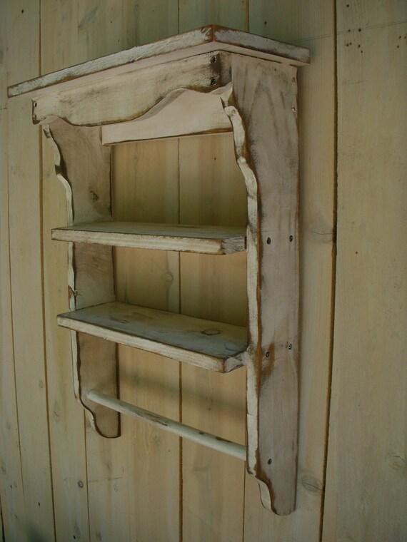Rustic Home Decor Distressed Wooden Shelf Towel Holder