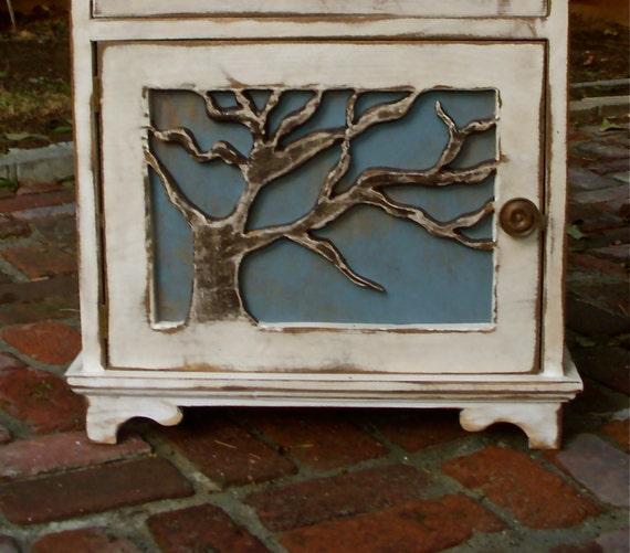 Cabin Decor - Wood Table - Artistic Furniture - Oak Tree, Lighthouse - Rustic Elegance, Beach Cottage