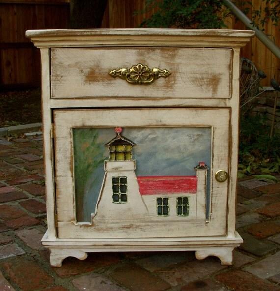 Beach Cottage Decor - Wood Table - Furniture - Oak Tree - Lighthouse - Shabby - Rustic Home Decor