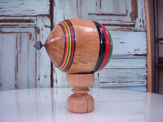 Japanese Toy Tops : Vintage japanese folk toy sasebo goma koma fighting wooden top