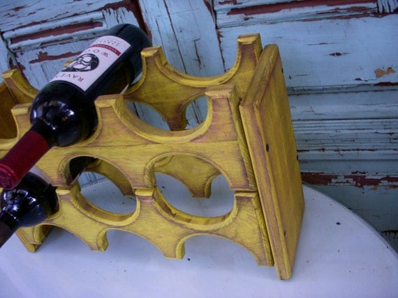 Wooden Wine Rack - Wedding Gift Ideas - Rustic Home Decor - Mod Kitchen - Industrial - Gift Ideas - Holds 6 Bottles - Handcrafted of Wood