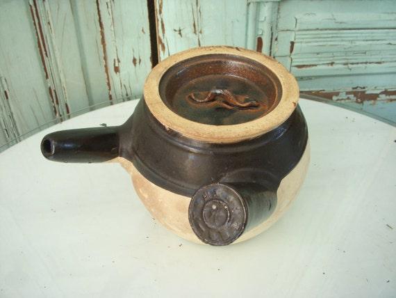 Antique - Crockware - Bean Pot - Rare Design - Handle and Drain Spout - Serving - Display Piece - Brown - Pottery - Vintage - Home Decor
