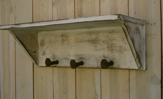 Wall Shelf - Hooks -Railroad Spike - Handmade - Shabby Cottage - 24 Long x 10 Deep x 8 Tall - Coat Rack - Entryway - Entry Furniture