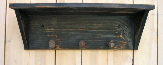 Rustic Shelf - Railroad Spike - Farmhouse Chic - Handmade - Shabby Cottage Chic - 24 Long with 3 or 4 Spikes, Your Choice - Color Choices