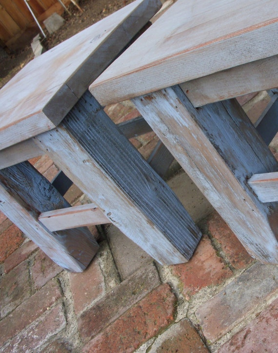 Reclaimed Wood - Living Room Furniture - Side Table - Wooden - Hefty - Rustic - End Table- Shabby Cottage - Handmade - French Country
