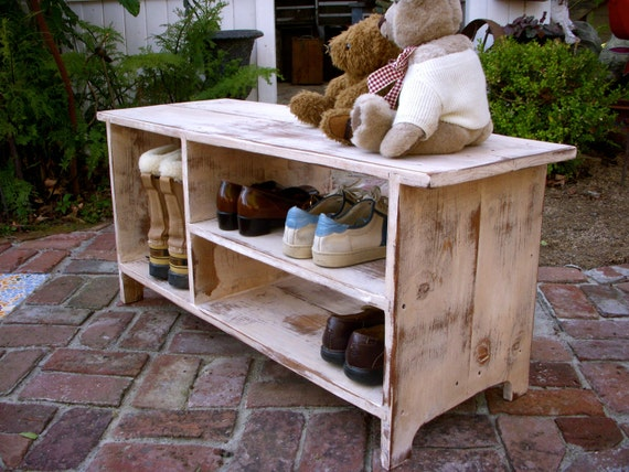 Wood Shoe Shelf Storage Bench - Entryway - Hall - Shoe Storage - Bookcase - Mudroom - Mud Room - Entry Furniture