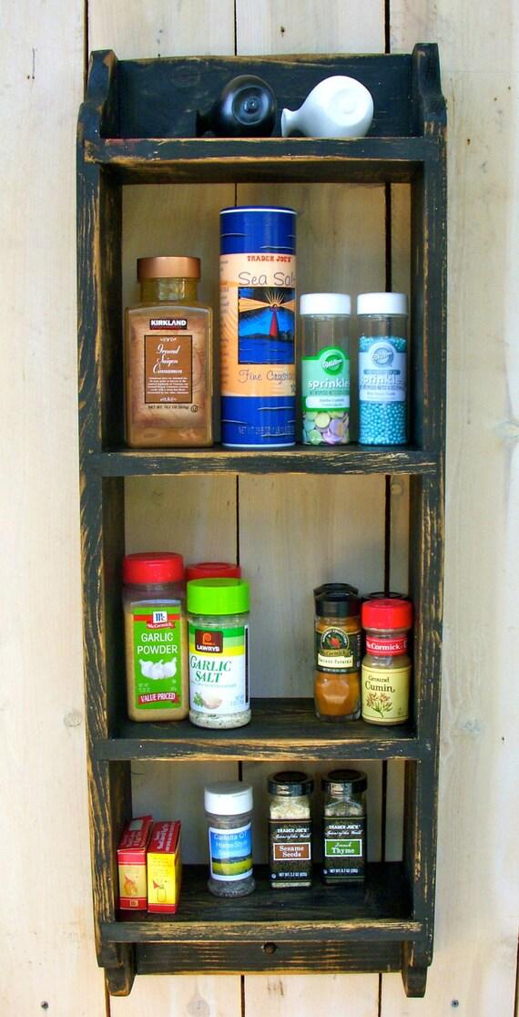 Wood Spice Rack Kitchen Wall Mounted Shelf Wall Mount Wooden